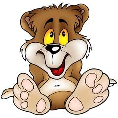 Sweet Bear sitting - detailed cartoon illustration