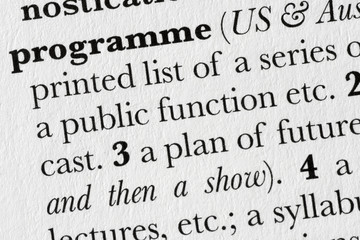 Programme word dictionary definition