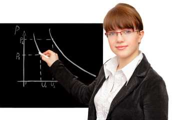 beauty student and blackboard against white background
