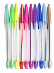 Colourful pens on a white background Back to school concept