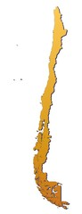 Fotobehang Hoogte schaal Chile map filled with orange gradient. Mercator projection.