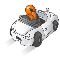 Orange Man Driving Car