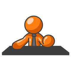 Orange man at table top.