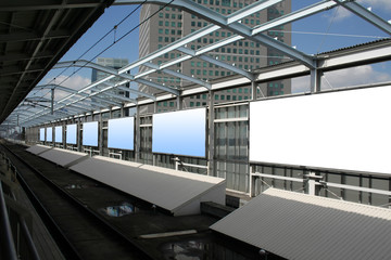 Blank billboards in a metro station