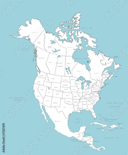 Free Vector Map Of North America.North America Vector Map With Countries Stock Image And Royalty