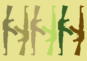 Wall Mural - camouflage pattern with guns