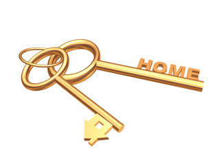 Two 3d gold keys with symbol home