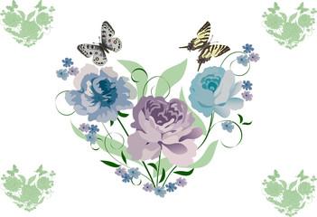 blue flowers heart