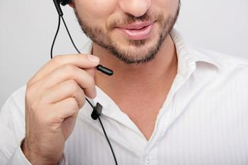 mund mikrofon headset mann zähne sprechen telefonieren