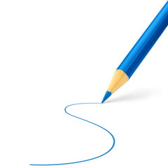 Blue pencil making a stroke
