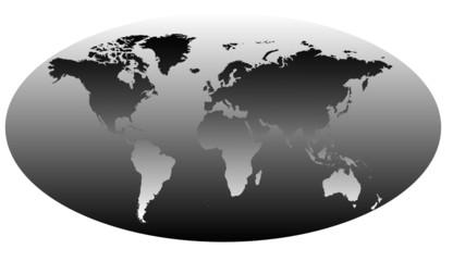 Map World Black & White