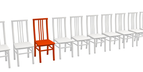 One 3d red chair in a row of white chairs