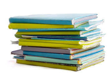 School books in blue and lime paper