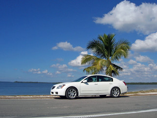 car at the beach