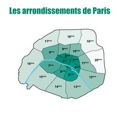 Les arrondissements de Paris - bleu/vert