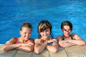 Happy girls in pool