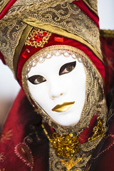 Red and gold Venetian costume