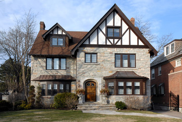 Large tudor style house with bay window