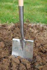 Spade in the soil