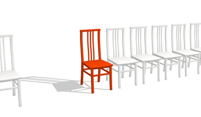 Red chair rejecting a shadow, in a row of white chairs