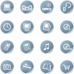 blue sticker home electronics icons