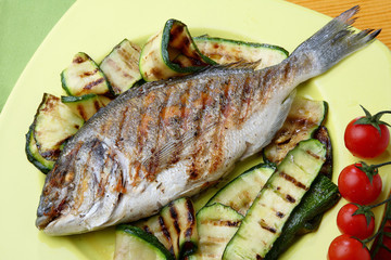Grilled Gilt-head bream with grilled zucchini