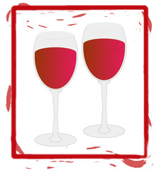 two wine glasses full of red wine - illustration