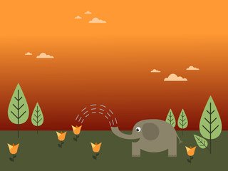 elephant watering a flower
