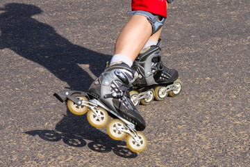 young woman on rollerskates