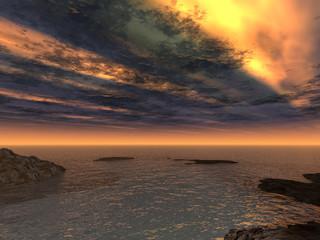 Fantastic clouds and  ocean