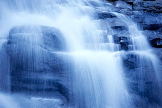 waterfall in japanese garden, monotone