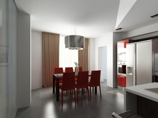 modern interior design (privat apartment 3d rendering)