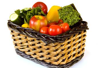 Wicker Basket full of Fruit and Salad Ingredients