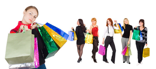 group of  shopping girls with happy and relaxed one
