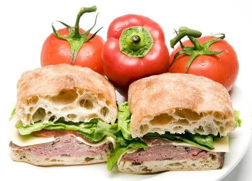 roast beef boursin cheese ciabatta bread sandwich