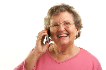 Smiling Senior Woman Using Cell Phone