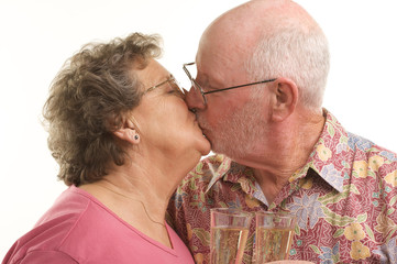 Elderly Senior Couple Kissing