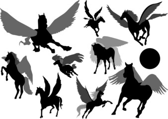 A collection of vector pegasus silhouette