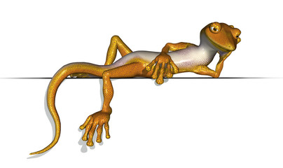 Gecko Laying on Edge - 3D render