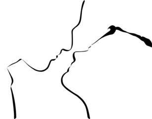 Silhouette de deux amoureux