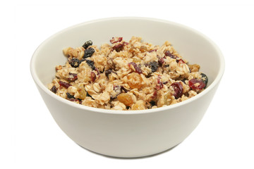Bowl of Granola Isolated