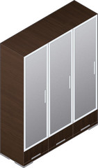 Modern Style Large Wooden Wardrobe with aluminum finish and glas