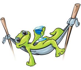 Gecko on Hammock with Drink
