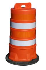 Orange barrel on white