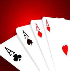 Four aces on color gradient background