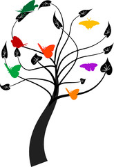 Vector tree with butterfly