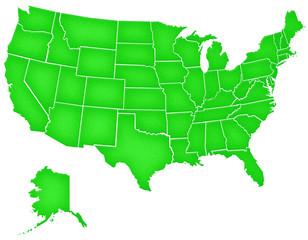 Carte Etats-Unis Grain de Verdure