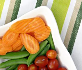 Carrots, Tomatoes and Sugar Snap Peas