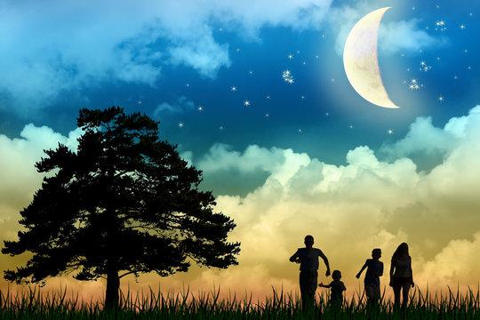 family walk field with tree