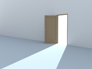 Conceptual image - bright light from an open door